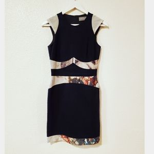 Hunter Dixon Black Abstract Cap Sleeves Dress